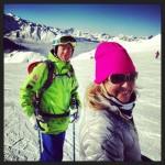 Pinky gal skiing in Switzerland