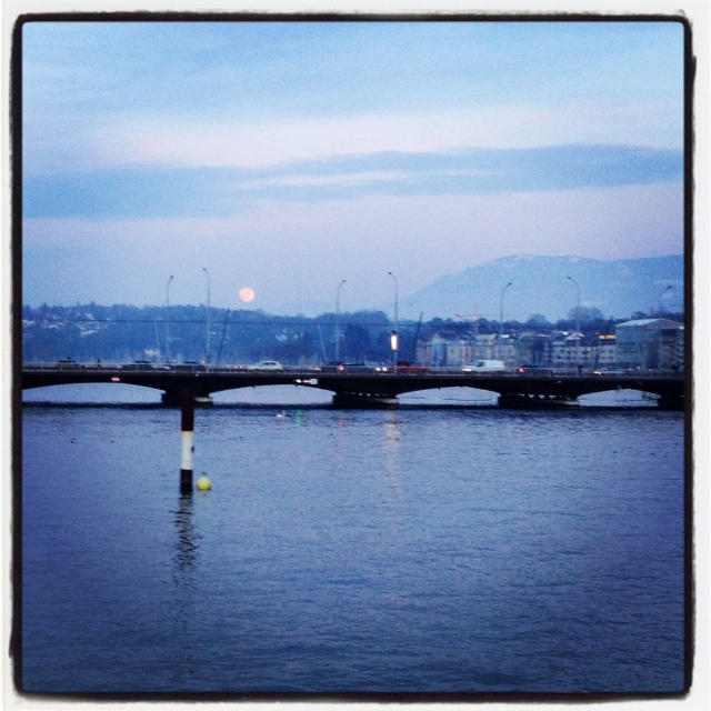 Moonrise over Lake Geneva