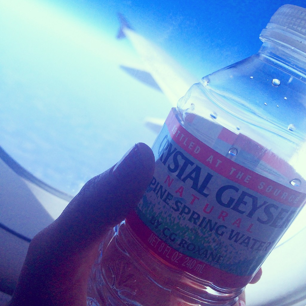 drinking water while flying